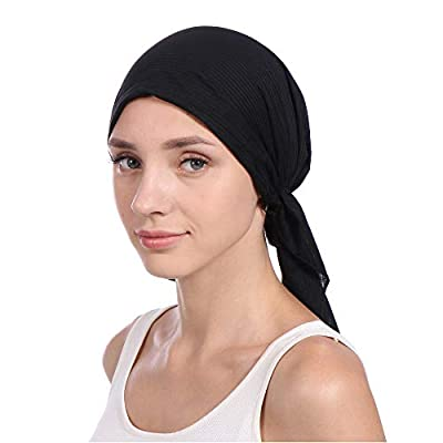 Aurorax Cotton Scarf Cap for Women (AC-97,Black,Free Size)