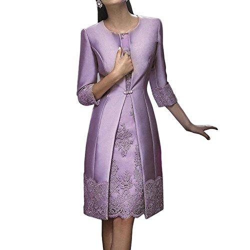 Dressvip 2 Stück Knielänge Frauen Kleider Mit Lange Jacke Für Besondere Anlässe Blasses Purpur
