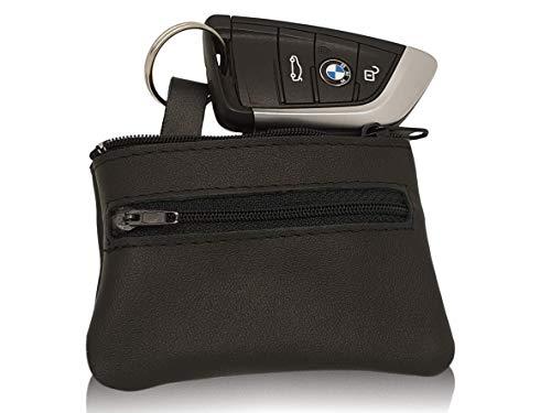 Lederssoires I Echt Leder Schlüsseletui für Autoschlüssel und Schlüsselbund I Schlüsseltasche für Damen und Herren I 2 Fächer I Schlüsselmäppchen Schwarz I -