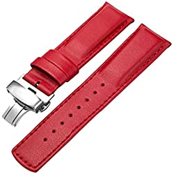 Zhuhaixmy Men's Waterproof Leather Butterfly-Buckle Watch Band Strap Belt Wristband Band