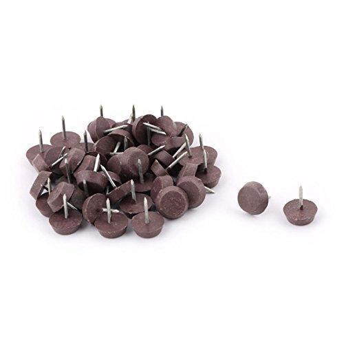 Dealmux Pointe en métal meubles de maison antidérapant à base ronde protecteur Chaise Table Pieds ongles Pad 15 mm de diamètre 50 pcs