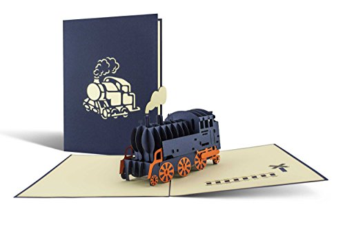 Pop Up Karte Dampflok in 3D, Karte für Sammler, Bahn Geschenkidee, Karte zum 30. Geburtstag, Bahnreise, Technik begeistert T09