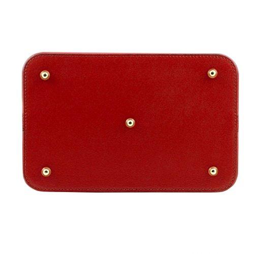 Tuscany Leather Minerva Borsa secchiello da donna in pelle Saffiano Cognac Rosso