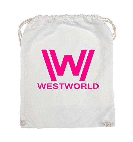 Comedy Bags - WESTWORLD - LOGO - Turnbeutel - 37x46cm - Farbe: Schwarz / Pink Weiss / Pink