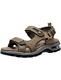 d73c0b92ae6 CAMEL CROWN Mens Walking Sandals Leather Outdoor Sports Hiking Sandals Open  Toe Summer Beach Men s Breathable