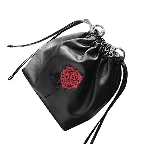 Kangrunmy Le donne di moda Roses borsa con coulisse a tracolla Tote signore borsa Nero