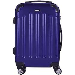 Sunydeal Valigia Trolley Bagaglio Grande Valigie Trolley Rigida in ABS 4 Ruote leggera 71cm 80 Litri New TSA per Donna e Uomo Blu Scuro