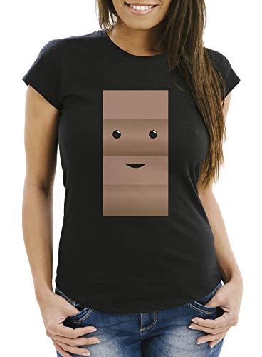 Kostüm Pärchen Einfache - MoonWorks® Damen T-Shirt T-Shirt Milch und Schokolade Kostüm Parnterkostüm Pärchen Kostüm Fasching Karneval schwarz XXL