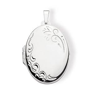 Haus der Herzen Medaillon Amulett Oval 925 Silber zum öffnen für Bildereinlage/ 2 Fotos