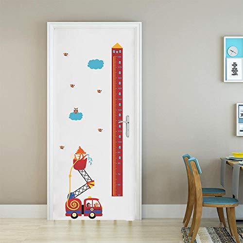 Tiere Feuer Rettungswagen Höhe Maßnahme Wandaufkleber Für Kindergarten Kinderzimmer Wachstum Chart Hause Tür Decor PVC Wandbild Wandkunst Aufkleber @ MultiCYACC,145 * 65cm - Wachstum Chart Tür