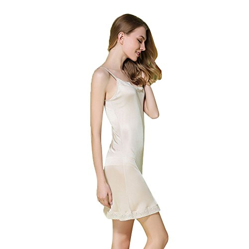 Hoffen 100% Seide Damen Unterkleid Mini Nachtkleid verstellbare Träger Soft Full Slip (Nude, M)