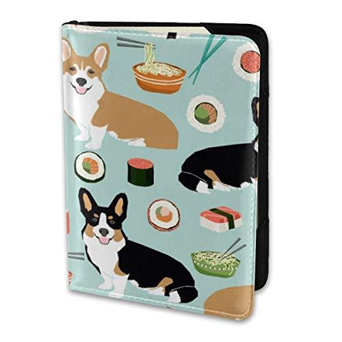 Passport Holder Cover Corgis Sushi and Noodles Cute Food Noodle Pot Sushi Wallet Credit Card Set Blocking Leather Card Case Travel Accessories for Women Men Land Pot Holder