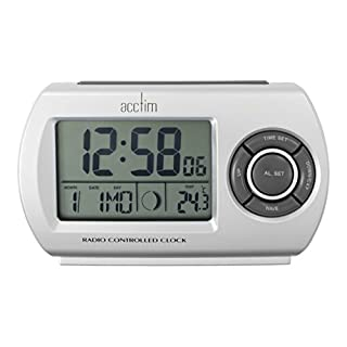Acctim 71117 Denio Radio Controlled Alarm Clock, Silver