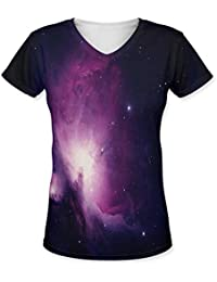 Snoogg Stars In The Galaxy Womens Casual V-Neck All Over Printed T Shirts Tees