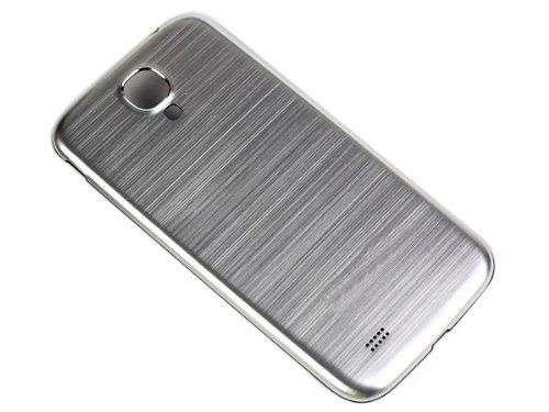Metal cepillado batería de respaldo Funda Carcasa Carcasa para Samsung i9500 Galaxy S4 Plata
