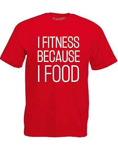 Brand88 - I Fitness Because I Food, Mann Gedruckt T-Shirt Rote/Weiß