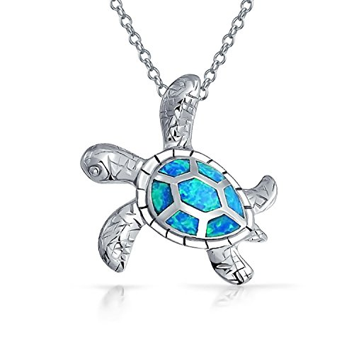 Bling Jewelry Azul sintético Opal colgante de Tortugas Marinas con incrustaciones de plata .925
