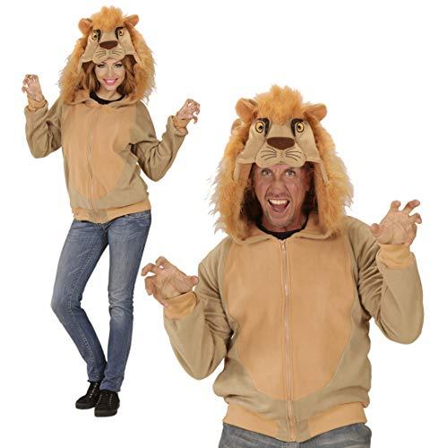 Amakando Witzige Kapuzen-Jacke Tiger / Beige in Größe S/M / Wärmendes Kostüm-Zubehör König der Tiere / Praktisch zu Fasching & Karneval (Hoody König)