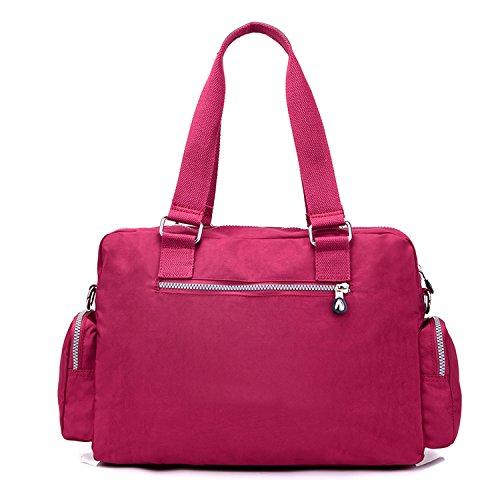 MeCooler Handtasche Damen Umhängetasche Wasserdicht Schultertasche Leichter Kuriertasche Lässige Taschen Messenger Bag Mode Reisetasche für Mädchen Sporttasche Rot 2