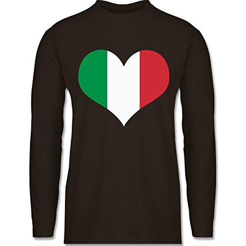 Shirtracer Länder - Italien Herz - Herren Langarmshirt Braun