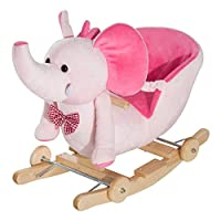 HOMCOM Baby Ride on Rocking Wooden Toy for Kids 2 in 1 Plush Elephant with Wheels and 32 Songs