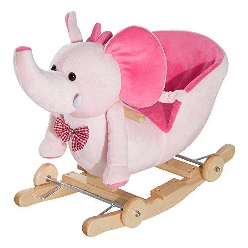 Homcom Cheval à Bascule Jouet à Bascule éléphant et Porteur sur roulettes...