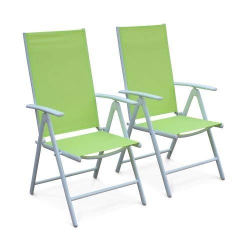 Alice's Garden Lot de 2 fauteuils Multi-Positions Naevia en Aluminium Blanc et textilène Vert Pomme