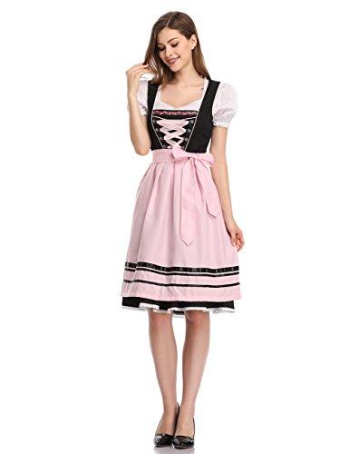 KOJOOIN Damen Dirndl Trachtenkleid Kurz - Midi Kleid für Oktoberfest - DREI Teilig: Kleid, Bluse, Schürze Schwarz-Rosa 42/2XL -