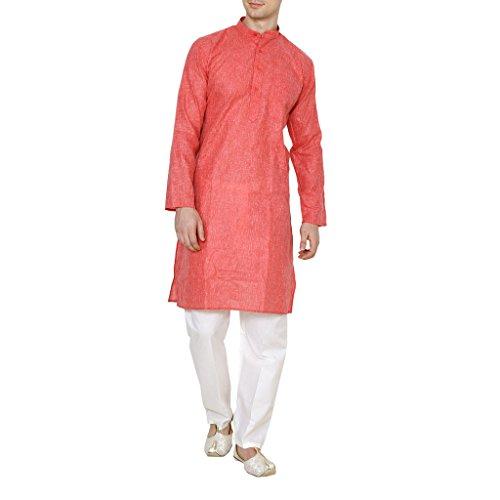 Royal Kurta Men's Red Linen Cotton Kurta Pyjama Set