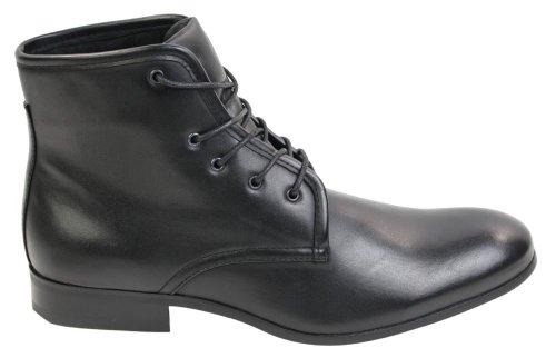 mens cuir italien noir marron bottines lacées intelligente des concessionnaires chelsea occasionnel Noir