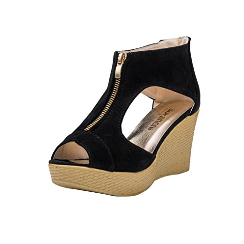 VJGOAL Damen Sandalen, Damen Mädchen Sommer Casual Peep Toe Plattform Reißverschluss Wedges Party Sandalen Strand Schuhe Frau Geschenk (38 EU, Schwarz)