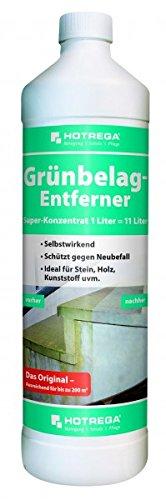 HOTREGA® Grünbelag-Entferner 1:10 Super-Konzentrat 1 l - Säure- und chlorfreier Spezialreiniger selbsttätig + nachhaltig
