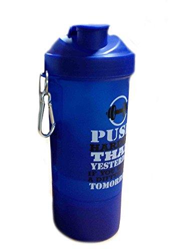 Kunststoff-Fitness-Studio Wasserflasche mit 3-Schicht Twist und Lock-Speicher / blaue Farbe / 600ml, Gym Sport Shaker Bottle, Ostern Tag / Muttertag / Karfreitag Geschenk Beste Vitamine Für Speicher