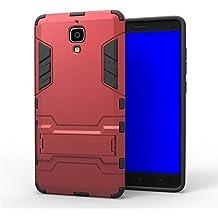 Wkae® Xiaomi M4 funda, 2 en 1 Nueva Iron Man estilo h¨ªbrido de doble capa de armadura Defender PC Hard Fundas con Soporte [prueba de golpes funda] para Xiaomi 4 M4 Mi4 por Diebell (Rojo)