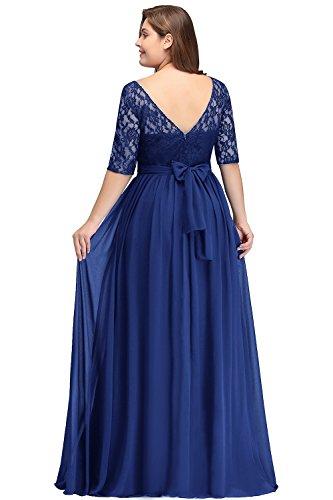 Misshow Damen Übergröße Abendkleid Spitze Chiffon mit Ärmel Elegant Lang Ballkleid , Royalblau, 46
