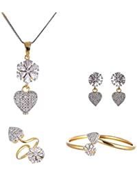 Valentine Gift by Zeneme Combo of Heart Shaped Gold Plated White Colored and American Diamond Pendant with Earrings, Bracelet and Ring for Women & Girls