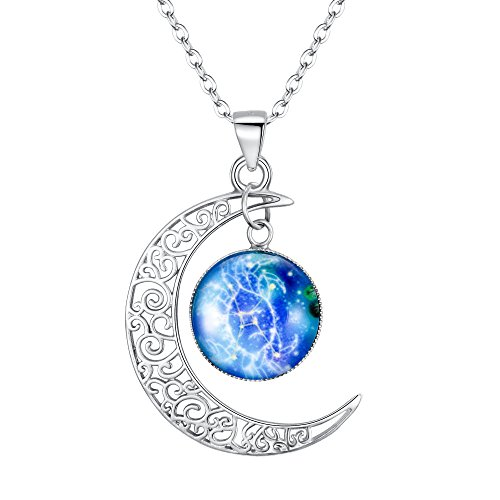 Clearine Halskette Damen 925 Sterling Silber Horoskop Tierkreis 12 Konstellation Astrologie Galaxis & Halbmond Mond Glas Bead Anhänger Hals-Schmuck Krebs