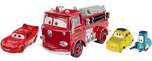 Mattel Disney Cars FNV13 - Disney Cars 3 Die-Cast 3er-Pack 2 x 1:55, 1 x Oversized - Lightning McQueen, Luigi und Guido, rot
