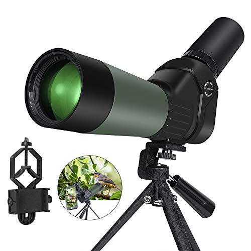 Spektiv 20-60x60 High Power mit Stativ Kalawen BAK4 Prisma voll Multi-Coated Optik 45Grad abgewinkelt Okular mit Handy Adapter für Vogelbeobachtung Sportschützen
