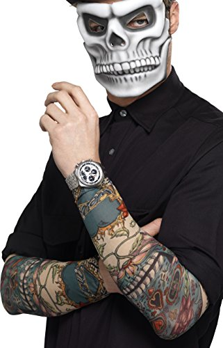 Smiffys 44225 - Herren Tag der Toten Tattoo Ärmel, One ()