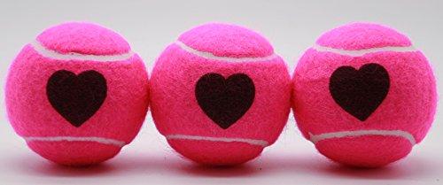 Price's Heart Motif Tennis Balls ITF Standard Made in the UK (1 - Pinke Tennisbälle