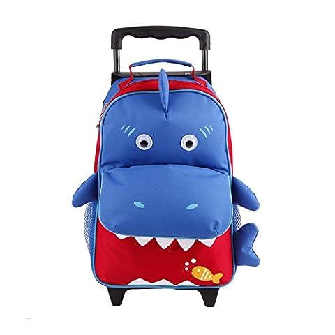 BOMIO Kinder-Trolley-Kombination | farbenfroher Kindergartenrucksack | Kindergartentasche | niedlicher Kinderkoffer | 3 Tragemöglichkeiten | lustiges