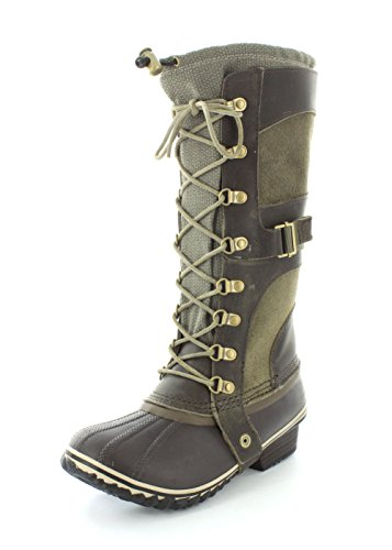 Sorel Conquest Carly Cuir Botte d'hiver Green-Brown