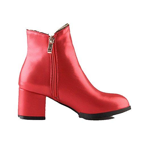 AllhqFashion Damen Rein Mittler Absatz Rund Zehe Reißverschluss Stiefel, Rot, 39