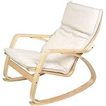 Harima - Sedia a dondolo modello Reine, con rivestimento lavabile in cotone, comoda e rilassante, colore: bianco naturale
