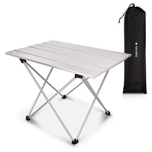 Navaris Mesa Plegable de Camping - Mesa Auxiliar de Aluminio ...