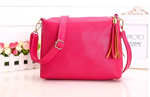 Mefly Neuen Handtasche Multicolor Quaste Single Schultertasche Xiekua Paket Tasche Rose red