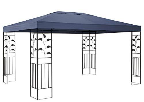 QUICK STAR Garten Blätter Pavillon 3x4m Grau Partyzelt Metall Carport