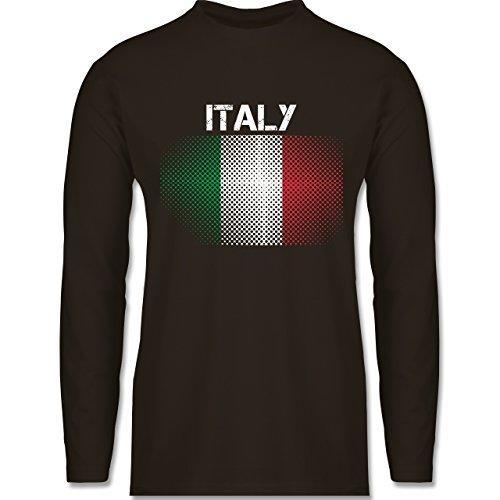 Shirtracer Länder - Italy Flagge - Herren Langarmshirt Braun