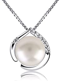 B.Catcher Collier en Argent 925 Pendentif coeur Collier de perle Perle de culture Zirconium cubique Chaîne italienne Cadeau parfait pour les femmes et les filles